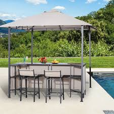 Outdoor Bar Table Set Outsunny Outdoor Bar Table Set Cloth Canopy U0026 2 Chairs Patio