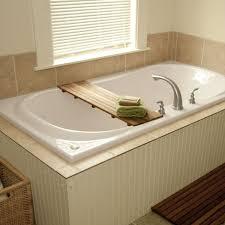 teak bathtub shelf seat wood decor