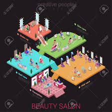 flat 3d isometric abstract beauty salon office building floor