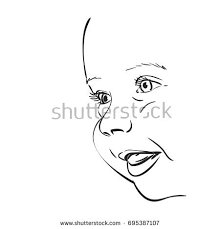 sketch happy smiling baby face profile stock vector 695387107