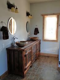 Reclaimed Wood Vanity Bathroom Reclaimed Wood Vanity Rustic Bath Cabinetry Log Cabin Vanities