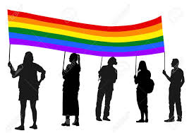 Usa Rainbow Flag Group Of Pride Protester Vector Silhouette Illustration