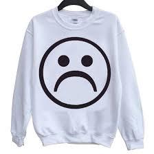 women u0027s sad face emoji white printed ultra soft hoodies hz 117