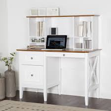 L Shape White Wooden Desk With Black Drawers And Shelves Plus