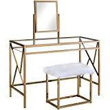 rose gold vanity table amazon com homes inside out idf dk6162rg emerald vanity set