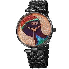 swarovski crystal bracelet watches images Burgi bur162bk genuine swarovski crystal peacock feather black jpg