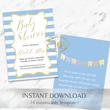 instant download baby shower invitations blue baby shower invitation template instant download