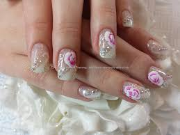 white and silver gel design wedding nails with one stroke flower