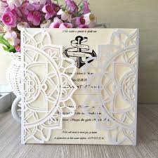 luxury wedding invitations 12pcs white unique sun flower laser cut luxury wedding