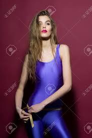 skin jumpsuit attractive slender in violet second skin jumpsuit standing