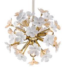 Flower Pendant Light White And Gold Frangipani Flower Pendant Sylvena Lighting