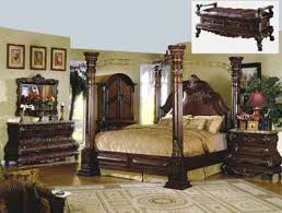 Wood Canopy Bed Mfb9088 Crown Post Solid Wood And Bonded Leather Canopy
