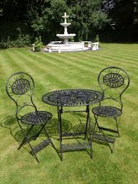 Cast Iron Patio Set Table Chairs Garden Furniture by Black Wrought Iron 3 Piece Bistro Style Garden Patio Furniture Set