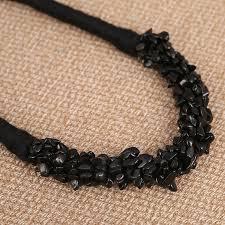 black natural stone necklace images Handmade diy jewelry black natural stone geometric necklaces women jpg