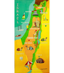 Map Of Israel Map Of Israel Cities And Holy Land Sites Large Bath Towel Jpg