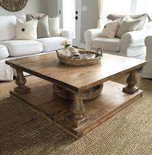 large square rustic alder baluster wide plank coffee table