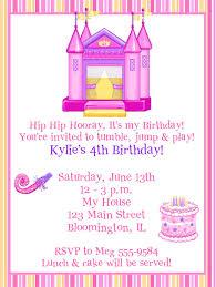 princess castle bounce house birthday invitations