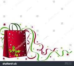 Holly Stars by Christmas Shopping Bag Holly Ribbons Stars Stock Illustration