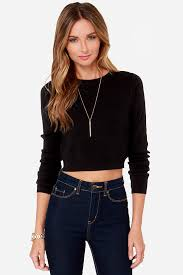 crop top sweater top black top 49 00