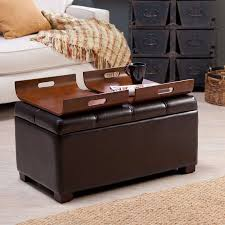 storage ottoman coffee table with trays 2018 popular brown leather ottoman coffee tables with storages