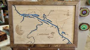 lake cumberland map cumberland river ashland city in kentucky and tennessee laser