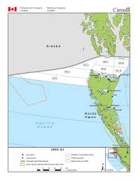Pacific Region Map Fisheries Management Area 101 Open Water North Of Haida Gwaii
