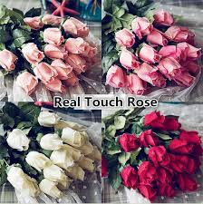Wholesale Fresh Flowers 2017 Wholesale Fresh Real Touch Rose Bud Artificial Silk Wedding