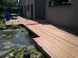 terrasse suspendue en bois ets calomne entreprise menuiserie terrasse en bois sur mons