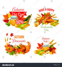 autumn sale symbol set thanksgiving day stock vector 695744653