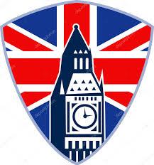 Great Britain Flag Big Ben London Clock Tower British Flag U2014 Stock Vector
