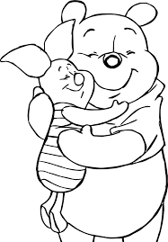winnie the pooh loving friends coloring page wecoloringpage