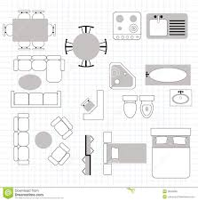 furniture linear vector symbols floor plan icons stock 2
