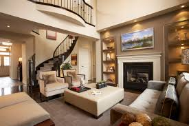Built In Cabinets Living Room by High Ceiling Family Room With Fireplace Loft Balcony And Built In