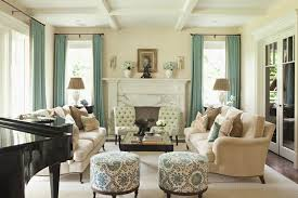 tufted living room furniture beige stain wall with green fabric curtain and varnished wood floor