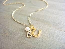 personalized horseshoe set personalized 24k gold vermeil lucky horseshoe necklace