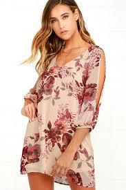 pretty beige dress shift dress cold shoulder dress floral