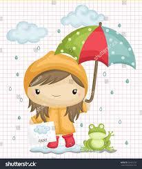 rainy weather umbrella frog rain stock vector 301422737