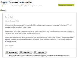Business Letter Offer business letter generator language bits