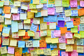 wall of wishes at umbrella revolution in hong kong editorial image