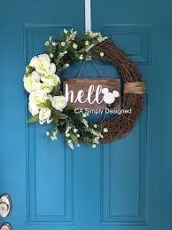 hello door sign hello sign wreath sign disney hello disney