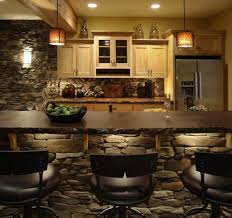 rustic stone wall decor for cottage inspired kitchen design trends