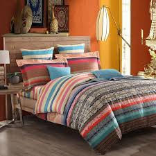 Moroccan Bed Sets Blue And Brown Moroccan Style Tribal Stripe Print