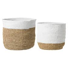 bloomingville storage baskets white raffia living and co