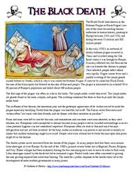 this fantastic ccss aligned black plague reading and worksheet
