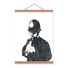 banksy home decor black white modern abstract banksy pop hipster wooden a4 framed