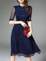midi dress blue work swing silk blend midi dress with belt tips4us