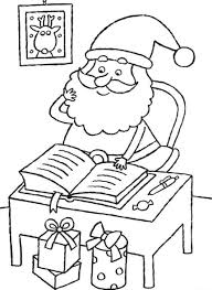 checking present lists santa coloring page christmas coloring