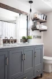 farmhouse bathroom black vanity gold mirrors home