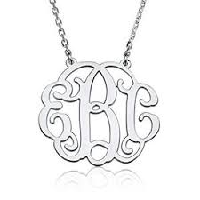 monogram necklace sterling silver 1 25 inch monogram necklace sterling silver personalized name