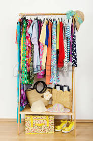 Wardrobe Interior Accessories Wardrobe With Summer Clothes Nicely Arranged Dressing Closet